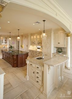 Image only but had to pin. Fabulous kitchen details and lighting!