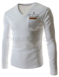 (CAL11-WHITE) Mens Slim V-neck Leather Patch Pocket Logo Printed Long Sleeve Tshirts