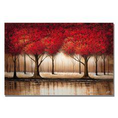 Rio 'Parade of Red Trees' Canvas Art   Overstock.com