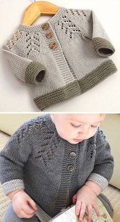 Amazing Knitting provides a directory of free knitting patterns, tips, and tricks for knitters. Baby Boy Knitting Patterns, Baby Sweater Patterns, Baby Cardigan Knitting Pattern, Baby Hats Knitting, Knitting For Kids, Crochet Baby Cardigan, Knit Baby Sweaters, Baby Pullover Muster, Brei Baby