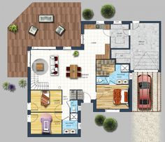 FOCUS on the interior layout of this two-storey house of 🔎 salon Living room / living room . Sims 4 House Plans, Modern House Plans, Construction Images, Modern Villa Design, Two Storey House, House Layouts, Architecture Plan, Little Houses, Traditional House