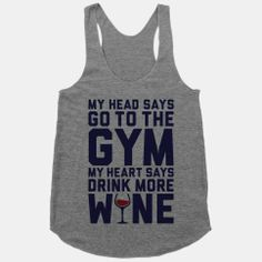 Gym Versus Wine #funny #cute #workout #fitness #wine #drinking #party #lazy #racerback #tank #gym