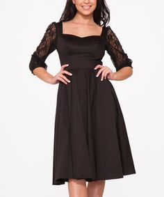 Look what I found on #zulily! Black Lace-Sleeve Sweetheart Dress - Plus Too #zulilyfinds