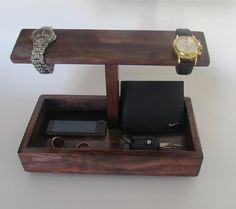 Men Watch Holder and Men Valet box by ImproveResults on Etsy online shopping m Mens Watch Holder, Mens Watch Box, Watch Organizer, Watch Storage, Vintage Watches For Men, Best Watches For Men, Wood Projects, Woodworking Projects, Desk Inspiration