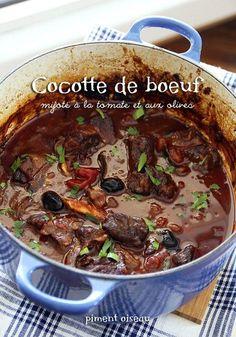 cocotte de boeuf à la tomate et aux olives- Beef stew in tomato sauce and olives