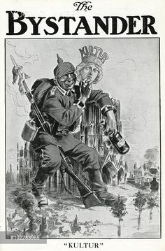 WWI Cartoon, German soldier with a mask of Culture (Kultur) ©Mary Evans Picture Library