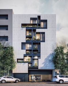 Gol Afshan Residence (facade study), designed by Visualized by Office Building Architecture, Architecture Résidentielle, Building Exterior, Building Facade, Contemporary Architecture, Building Design, Archi Design, Facade Design, Exterior Design