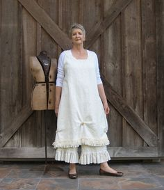 linen jumper pinafore dress tunic smock in cream by linenclothing