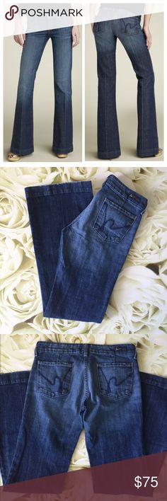"""•Citizens of Humanity • """"Faye"""" •Citizens of Humanity •""""Faye"""" Wide Leg Stretch Denim Trousers (Pacific Wash) • Great preloved condition • slight wear and tear on the hems ( as shown in photo) inseam: 32.5"""" • I ❤️ offers• Citizens of Humanity Jeans Flare & Wide Leg"""