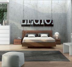 Cama flotante y mesita de noche - Disponible en 2 tamaños y acabados distintos