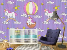 Unicorns Nursery Wall Mural Kids Wallpaper Self-Adhesive Purple Removable Decor