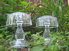 With an LED light underneath these would look great at night!...Vintage Cut Glass Garden Art Decor Duo by OrnamentalElegance, $38.00