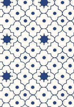 Wallcovering / Wallpaper | Taj Trellis in Jaipur Blue | Martyn Lawrence Bullard for Schumacher