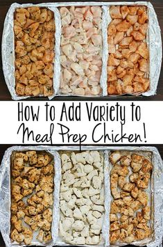 How to Add Variety to Meal Prep Chicken! Add variety to that boring meal prep chicken with these three delicious clean-eating marinades! Separate a cookie sheet into thirds using tinfoil and create three different flavors of chicken for your meal plans! Chicken Meal Prep, Clean Chicken Recipes, Healthy Chicken Meals, Chicken Flavors, Recipe Chicken, Healthy Marinade For Chicken, Seasoning For Chicken, Crockpot Shredded Chicken, Weekly Meal Prep
