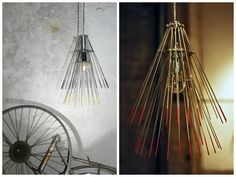 The Hawaii Lamp is a hanging lamp made of an old bicycle wheel. We got our idea when we were given a bunch of old bicycle wheels from a bicycle repair shop. The wheel parts are simply reassembled in order…