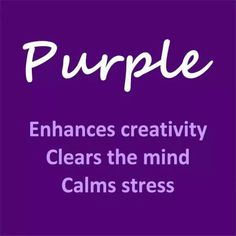No wonder why I love purple and it is my favorite color all time. Purple enhances creativity, clears the mind, calms stress Purple Love, All Things Purple, Shades Of Purple, Deep Purple, Pink Purple, Magenta, Purple Stuff, Purple Color Names, Purple Thoughts