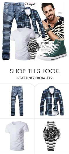 """Men fashion combo 3."" by merimaa997 ❤ liked on Polyvore featuring Rolex, Converse, men's fashion and menswear"