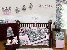 Pink and Black Damask Sophia Girl 9pc Girl Bedding crib set by Sweet Jojo Designs. Crib bedding sets and accessories take a major role to decorate baby nurseries.