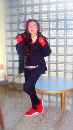 #outfit #winter black & red, #forever #fashion, #italian #style