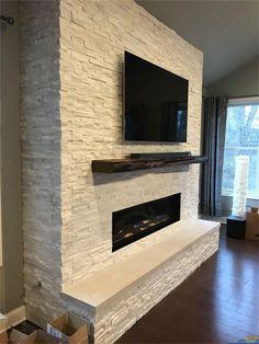 Fireplace Tv Wall, Basement Fireplace, Brick Fireplace Makeover, Fireplace Built Ins, Fireplace Remodel, Modern Fireplace, Living Room With Fireplace, Fireplace Design, Custom Fireplace