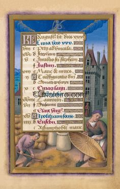 The Calendar: August, f. 11r. Virgo is depicted as a long-haired maiden wearing a gown sitting directly on the floor, or rather ...