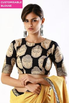 Buy Designer Blouses online, Custom Design Blouses, Ready Made Blouses, Saree Blouse patterns at our online shop House of Blouse from India. Kalamkari Blouse Designs, Saree Blouse Neck Designs, Blouse Patterns, Shagun Blouse Designs, Black Blouse Designs, Black And White Saree, Black White, Designer Blouses Online, Stylish Blouse Design