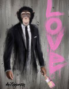 Are you looking for contemporary and street art? Pinkbrush, is a street artist. Graffiti Styles, Graffiti Art, Monkey Art, Paint Monkey, Mixed Media Painting, Love Painting, Rhino Art, Art Basel Miami, Open Art