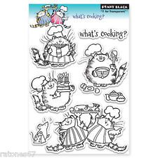 New Penny Black WHAT'S COOKING Clear Stamps Kitty Cat Food Cake Chef