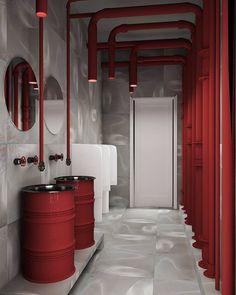 New bathroom interior design commercial ideas Restroom Design, Modern Bathroom Design, Bathroom Interior Design, Red Interior Design, Industrial Bathroom Design, Design Bedroom, Restaurant Bathroom, Bathroom Red, Bathroom Cabinets