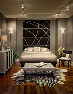 Vignette from our showroom - headboard works so well.