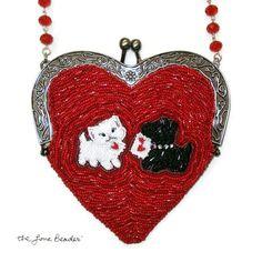 CUSTOM beaded heart shaped purse or handbag featuring your dog, pet, or favorite animal:)