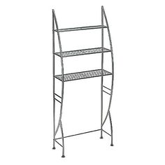 This contemporary three-tier shelf is ideal for small spaces, with plenty of room for books in a dorm room, towels in a bathroom, or even folded clothing or shoes in a closet. Some assembly required.