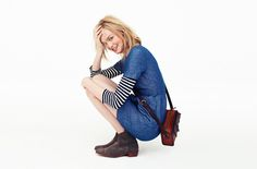 would be cuter with taller boots and larger bag. The short boots make it look frumpy. Madewell