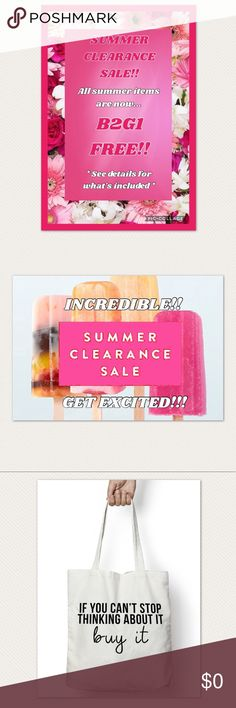 Summer clearance buy 2, get 1 free sale!!! Huge summer clearance sale going on now! In order to make room for fall and winter inventory, all summer items are now buy 2, get 1 free! Summer items marked with a 🆑 are included, plus some extra items marked the same. Simply bundle any 3 items that are on sale and I'll offer the price of 2 for all those items, making the 3rd one free! Lowest price item in the bundle will be free. Please feel free to ask any questions! I'll be happy to help if you…