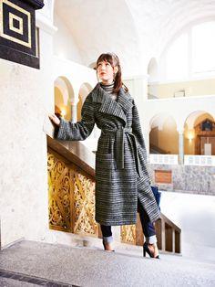 Long coat with sash 11/2014 #103 BurdaStyle