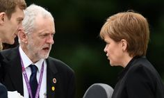 SNP leader Nicola Sturgeon talks to her Labour counterpart Jeremy Corbyn at a memorial service for the Battle of the Somme in 2016