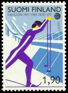 Postage stamp celebrating the 1989 World Championships in skiing, in Lahti