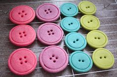 Cute as a button party - sugar cookies made with two circle cookie cutters and a straw for the holes