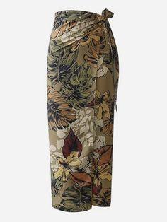 fc59773cb3 Women Boho Wrap Tropical Sheath High Waist Multicolor Long/Full Length  Foliage Print Overlap Skirt