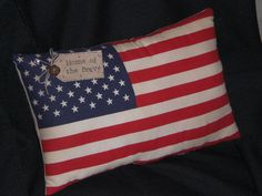 Primitive - American - USA - Flag - Pillow - Shelf Sitter - Americana - Home of the Brave - Patriotic - 4th of July - Accent Pillow on Etsy, $8.99