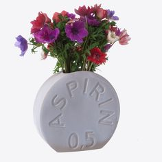 Slip cast stoneware vase featuring Bayer's Aspirin, an iconic industrial product. Ceramist Christina Morali started in 1993 her quest for recognizable products that were also aesthetically interesting in order to offer them a new dimension by producing them with clay or aluminum, also making them useful in a different way than the one they were famous for. Christina Morali does not see herself as a designer but what she accomplished was actually to transform them into design everyday…