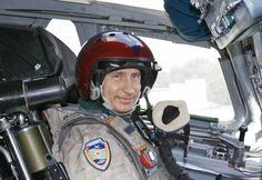 Russian President Vladimir Putin in the cockpit of a supersonic strategic bomber, 2005.