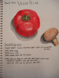 students illustrate and write out their favourite recipe- usually a sketchbook assignment.