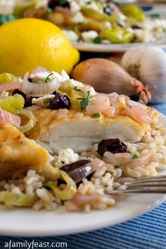 Mediterranean Haddock - A zesty and delicious dinner.  Tender fish in an incredible sauce made with shallots, lemon, pepperoncini and olives.
