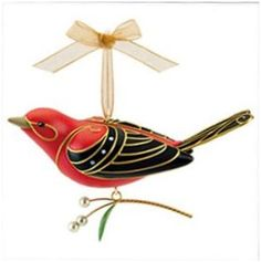 2011 Beauty Of Birds - Scarlet Tanager - Event Ornament. This bright red Scarlet tanager was available at the keepsake ornament club reunion event andf Hallmark Christmas Ornaments, Baby First Christmas Ornament, Bird Ornaments, Hallmark Keepsake Ornaments, Christmas Decorations, Christmas Tree, White Christmas, Christmas Accessories, Black Wings