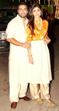 Raj Kundra and Shilpa Shetty at their Diwali Party