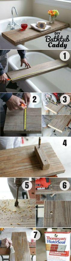 Easy to make #DIY Bathtub Caddy for rustic bathroom decor #HomeDecorIdeas #BathroomDesign #RusticDecor @istandarddesign
