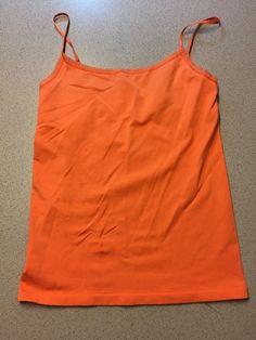 NWT Ann Taylor Spaghetti Strap Tank Top NEW Orange Stretch Shirt Blouse M T10  | eBay