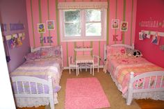 Cute shared room idea. Diff wall colors for sydney and samantha