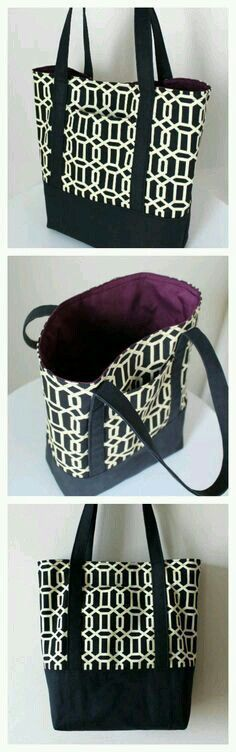 Black and white canvas tote with purple lining.